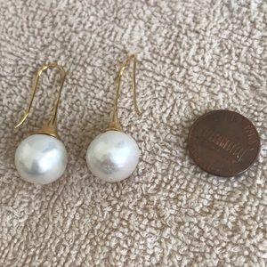 13-14 mm Round South Sea Pearl Earrings w18k Drops